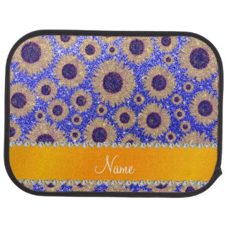 Personalized name neon blue glitter sunflowers car mat