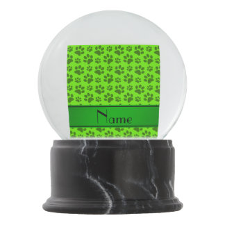 Personalized name neon green dog paws snow globe