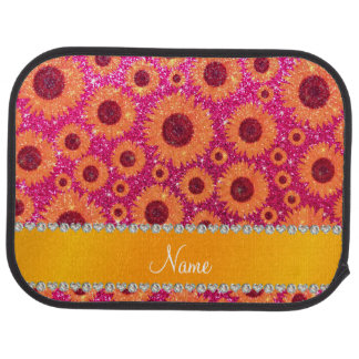 Personalized name neon hot pink glitter sunflowers car mat