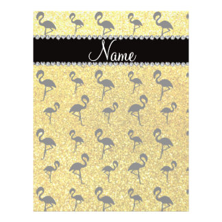 Personalized name neon yellow glitter flamingos personalized flyer
