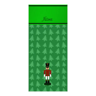 Personalized name nutcracker green Christmas trees Personalized Rack Card