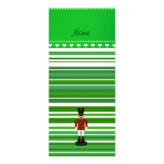 Personalized name nutcracker green stripes rack card design