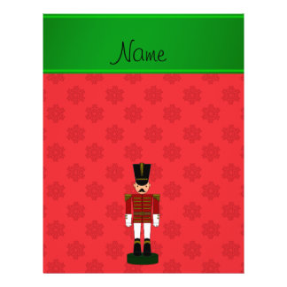 Personalized name nutcracker red snowflakes flyer design