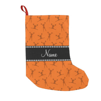 Personalized name orange cheerleader pattern small christmas stocking