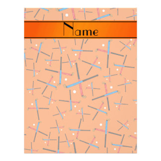 Personalized name orange field hockey pattern personalized flyer