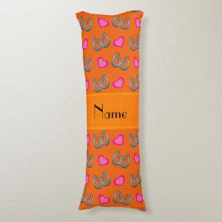 Personalized name orange horseshoes hearts body pillow