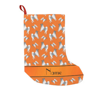 Personalized name orange Norwegian Elkhound dogs Small Christmas Stocking