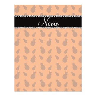 """Personalized name orange pineapples 8.5"""" x 11"""" flyer"""