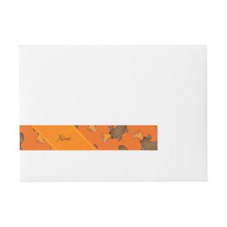 Personalized name orange platypus pattern wraparound address label