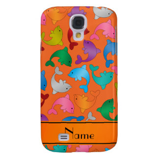 Personalized name orange rainbow dolphins galaxy s4 case