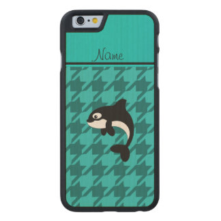 Personalized name orca whale turquoise houndstooth carved® maple iPhone 6 slim case