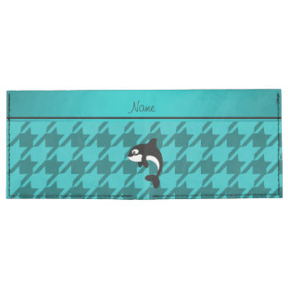 Personalized name orca whale turquoise houndstooth billfold wallet