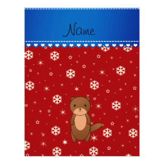 Personalized name otter red snowflakes 21.5 cm x 28 cm flyer