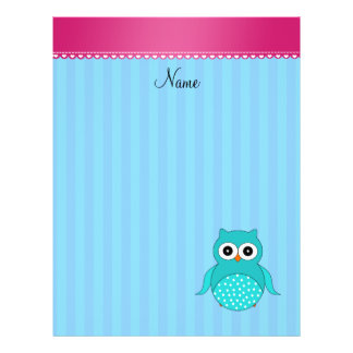 Personalized name owl blue stripes flyer
