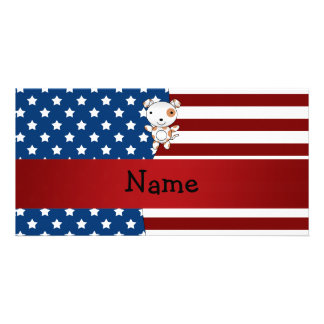 Personalized name Patriotic dog Photo Card Template