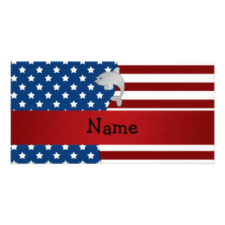 Personalized name Patriotic dolphin Picture Card