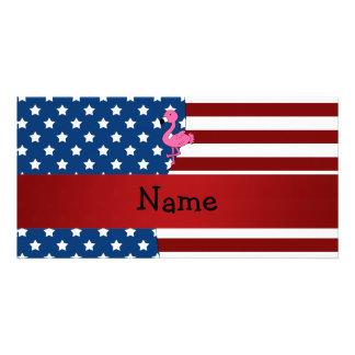 Personalized name Patriotic flamingo Photo Card Template