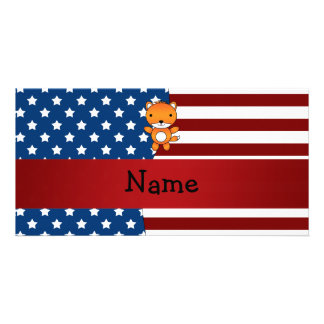 Personalized name Patriotic fox Customized Photo Card