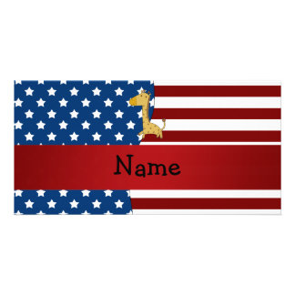 Personalized name Patriotic giraffe Photo Card