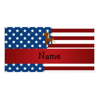 Personalized name Patriotic horse Photo Card