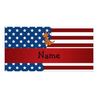 Personalized name Patriotic kangaroo Photo Card