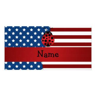Personalized name Patriotic ladybug Customized Photo Card