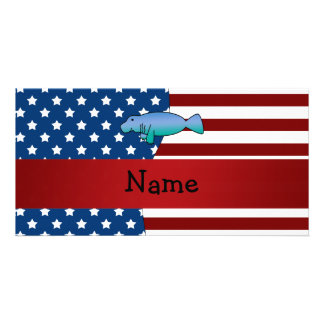 Personalized name Patriotic manatee Photo Card Template