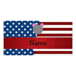 Personalized name Patriotic mouse Custom Photo Card