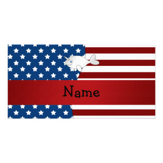 Personalized name Patriotic narwhal Photo Card Template
