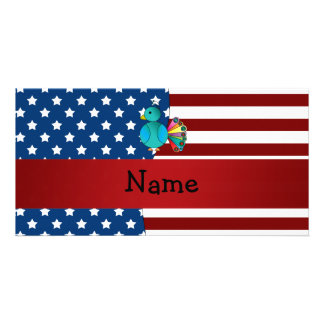 Personalized name Patriotic peacock Photo Greeting Card