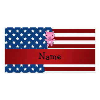 Personalized name Patriotic pig Customized Photo Card