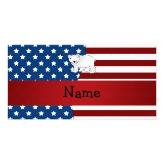 Personalized name Patriotic polar bear Photo Greeting Card