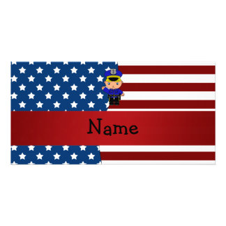 Personalized name Patriotic policeman Custom Photo Card