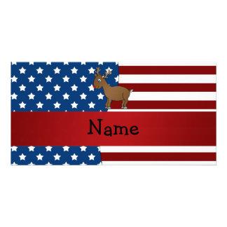 Personalized name Patriotic reindeer Photo Greeting Card