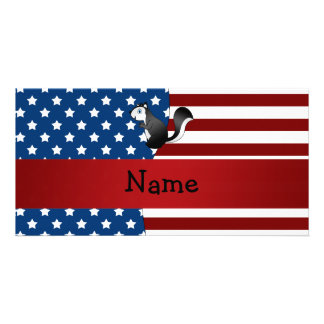 Personalized name Patriotic skunk Picture Card