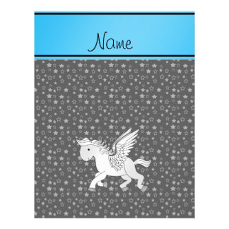 Personalized name pegasus gray stars flyers