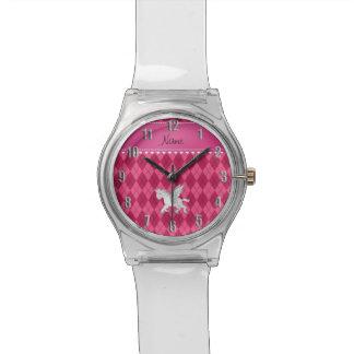 Personalized name pegasus pink argyle wrist watch