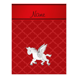 Personalized name pegasus red moroccan 21.5 cm x 28 cm flyer