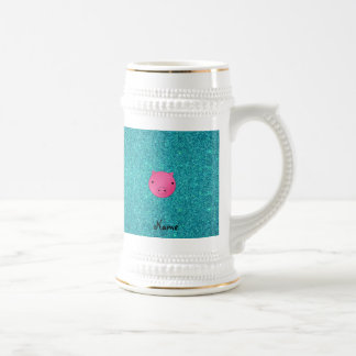 Personalized name pig face turquoise glitter mugs