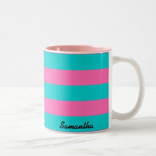 Personalized Name Pink and Cyan Stripes Mug