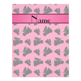 Personalized name pink black motorcycle racing 21.5 cm x 28 cm flyer