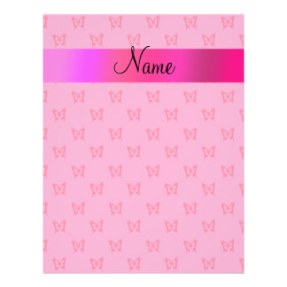 Personalized name pink butterflies flyer