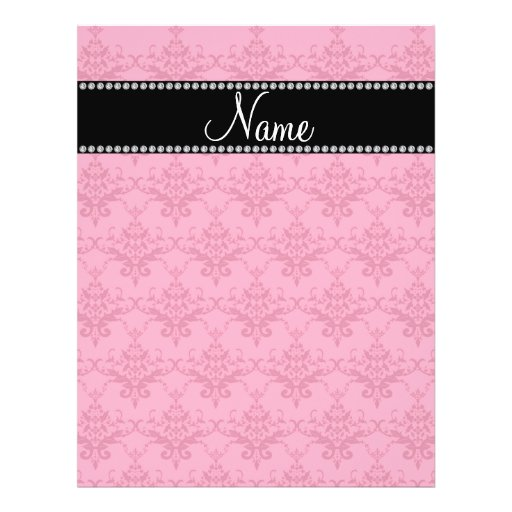 Personalized name Pink damask Personalized Flyer