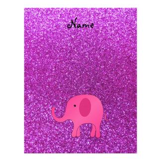 Personalized name pink elephant purple glitter 21.5 cm x 28 cm flyer