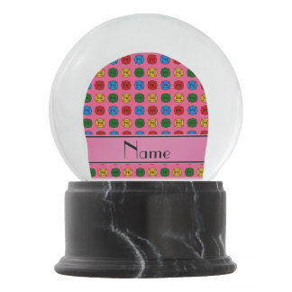 Personalized name pink fire department symbols snow globe