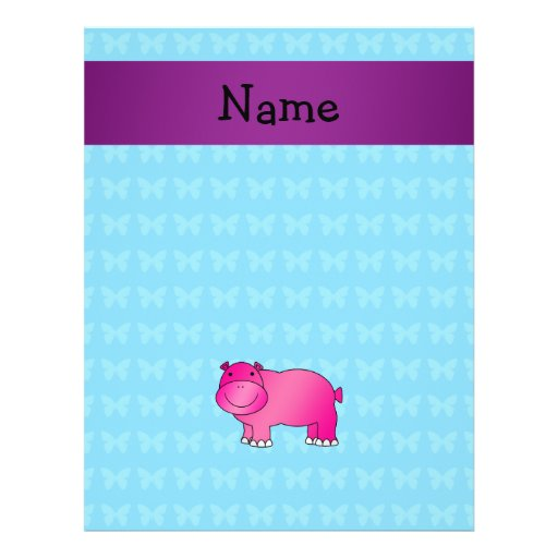 Personalized name pink hippo custom flyer