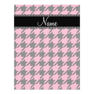 Personalized name pink houndstooth pattern flyer design