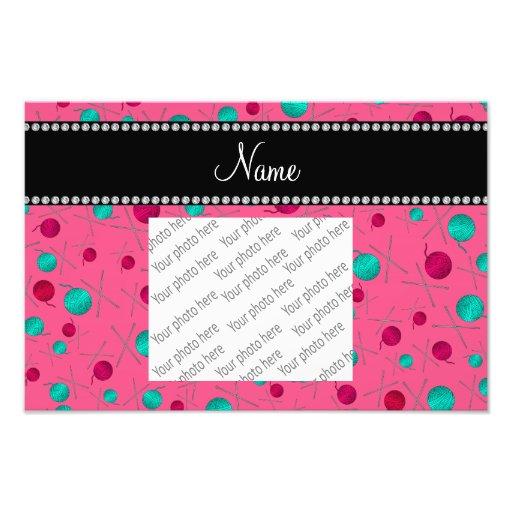 Personalized name pink knitting pattern photo art