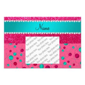 Personalized name pink knitting rose pink glitter photo