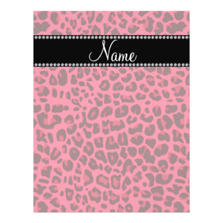 Personalized name pink leopard pattern 21.5 cm x 28 cm flyer